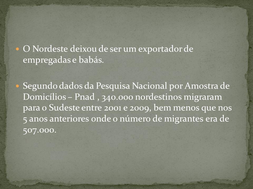 O Nordeste deixou de ser um exportador de empregadas e babás. Segundo dados da Pesquisa Nacional por Amostra de Domicílios – Pnad, 340.000 nordestinos