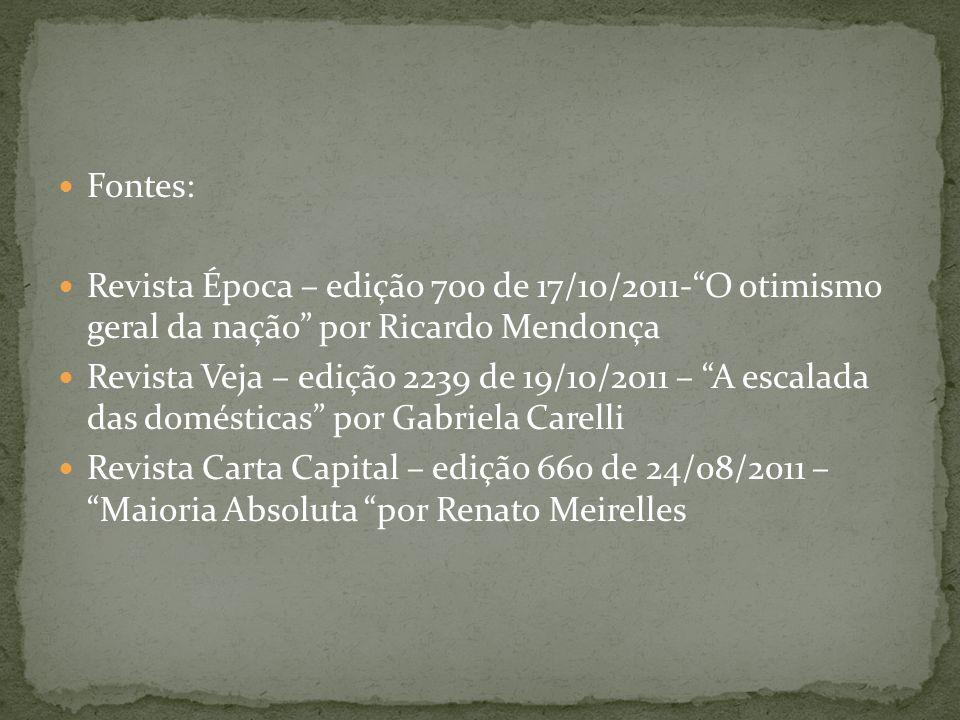 Fontes: Revista Época – edição 700 de 17/10/2011-O otimismo geral da nação por Ricardo Mendonça Revista Veja – edição 2239 de 19/10/2011 – A escalada