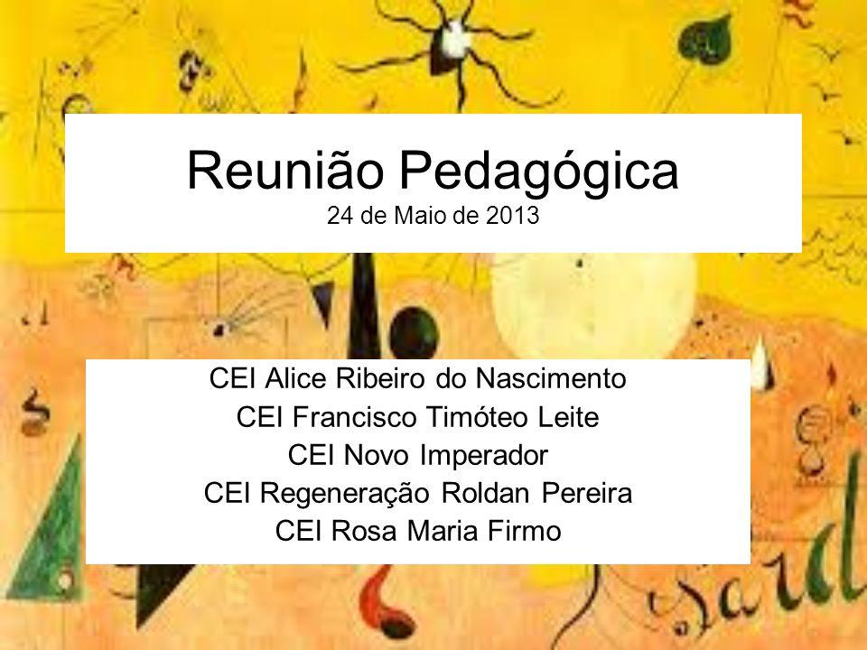Reunião Pedagógica 24 de Maio de 2013 CEI Alice Ribeiro do Nascimento CEI Francisco Timóteo Leite CEI Novo Imperador CEI Regeneração Roldan Pereira CE