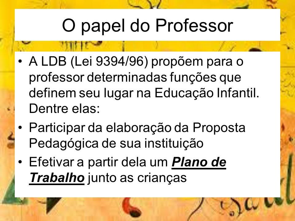A LDB (Lei 9394/96) propõem para o professor determinadas funções que definem seu lugar na Educação Infantil. Dentre elas: Participar da elaboração da