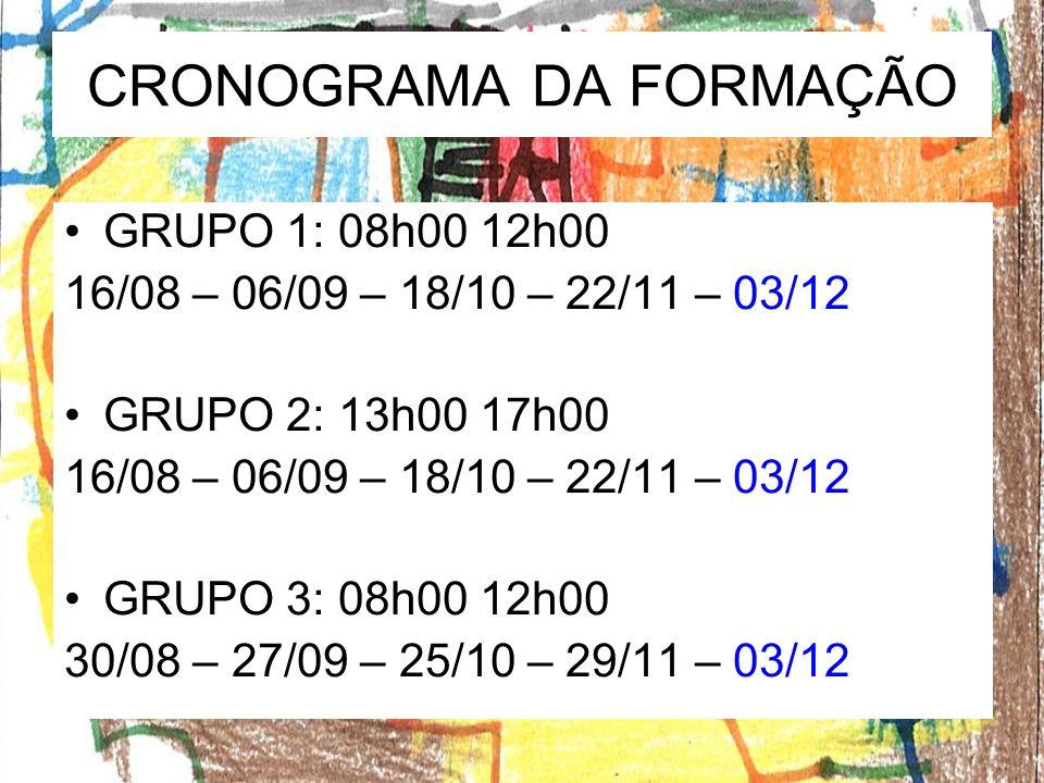 CRONOGRAMA DA FORMAÇÃO GRUPO 1: 08h00 12h00 16/08 – 06/09 – 18/10 – 22/11 – 03/12 GRUPO 2: 13h00 17h00 16/08 – 06/09 – 18/10 – 22/11 – 03/12 GRUPO 3: