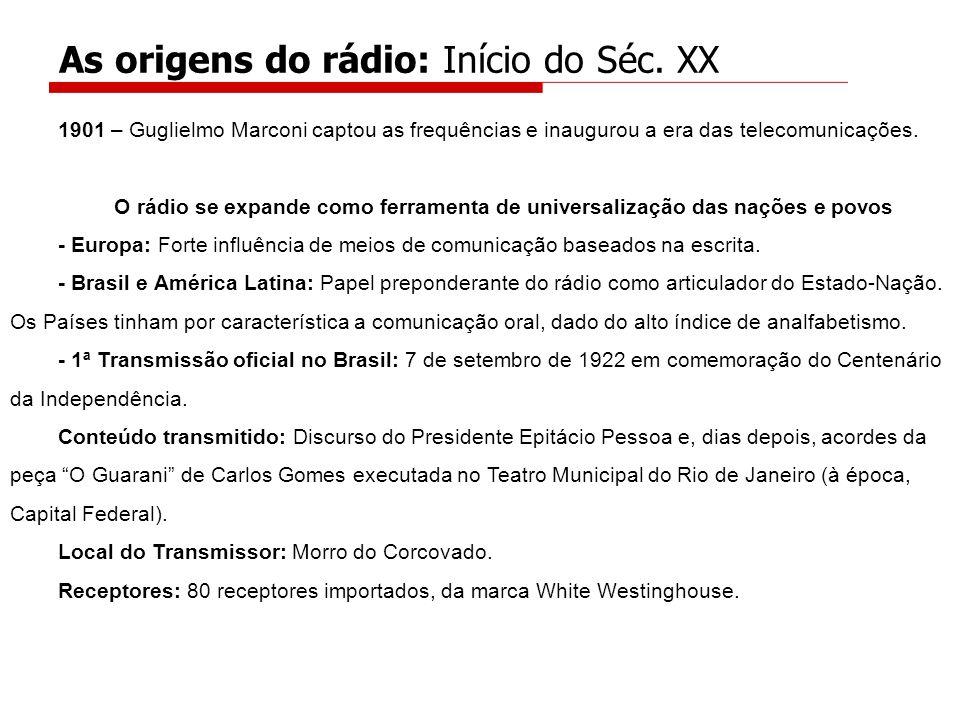 1901 – Guglielmo Marconi captou as frequências e inaugurou a era das telecomunicações. O rádio se expande como ferramenta de universalização das naçõe