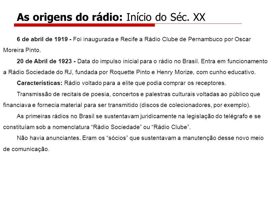 6 de abril de 1919 - Foi inaugurada e Recife a Rádio Clube de Pernambuco por Oscar Moreira Pinto. 20 de Abril de 1923 - Data do impulso inicial para o