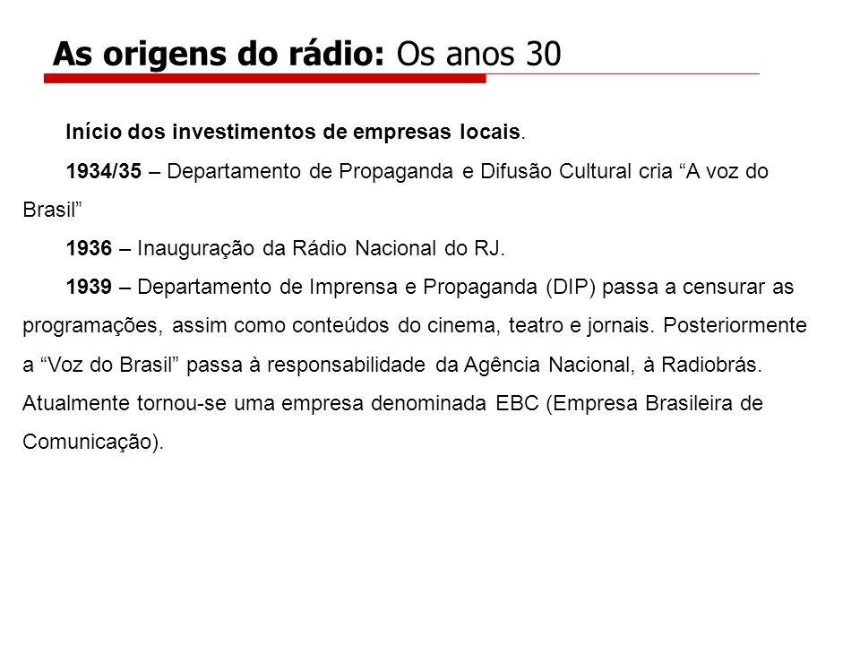 Início dos investimentos de empresas locais. 1934/35 – Departamento de Propaganda e Difusão Cultural cria A voz do Brasil 1936 – Inauguração da Rádio
