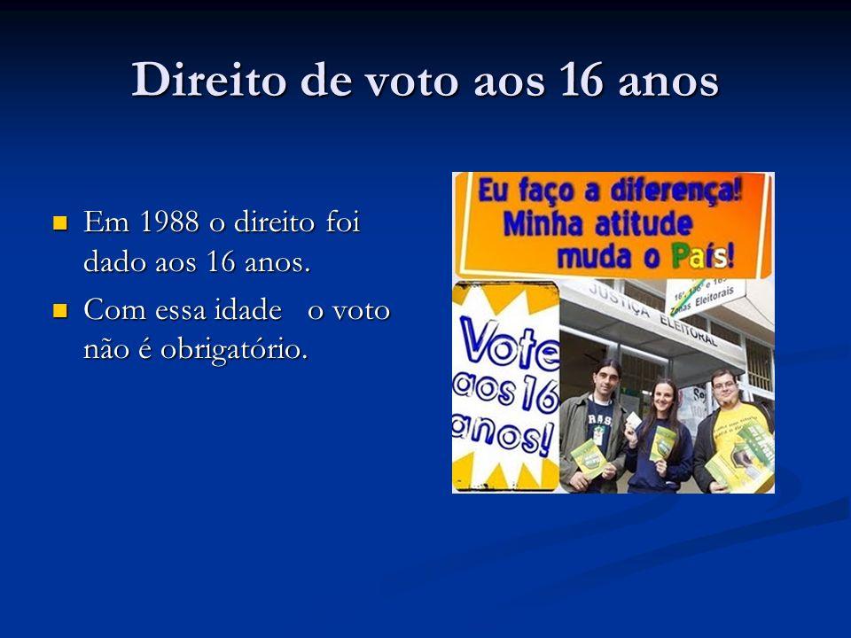 Direito de voto aos 16 anos Em 1988 o direito foi dado aos 16 anos. Em 1988 o direito foi dado aos 16 anos. Com essa idade o voto não é obrigatório. C