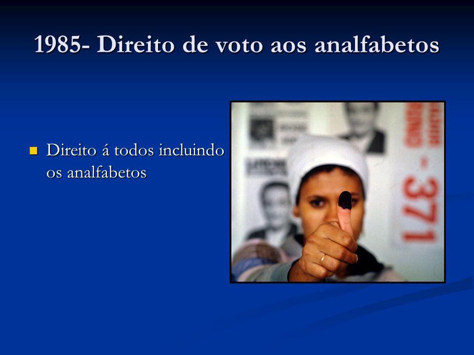 1985- Direito de voto aos analfabetos Direito á todos incluindo os analfabetos Direito á todos incluindo os analfabetos