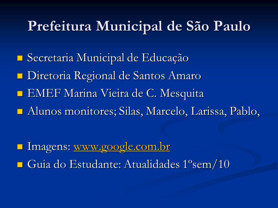 Prefeitura Municipal de São Paulo Secretaria Municipal de Educação Secretaria Municipal de Educação Diretoria Regional de Santos Amaro Diretoria Regional de Santos Amaro EMEF Marina Vieira de C.