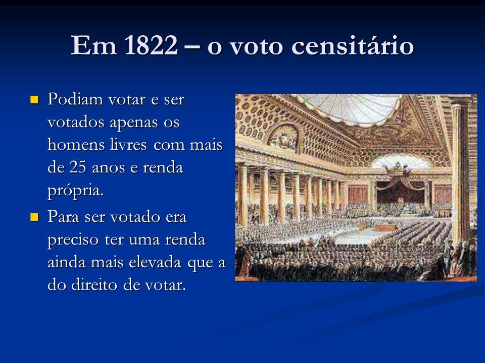 Em 1822 – o voto censitário Podiam votar e ser votados apenas os homens livres com mais de 25 anos e renda própria. Podiam votar e ser votados apenas