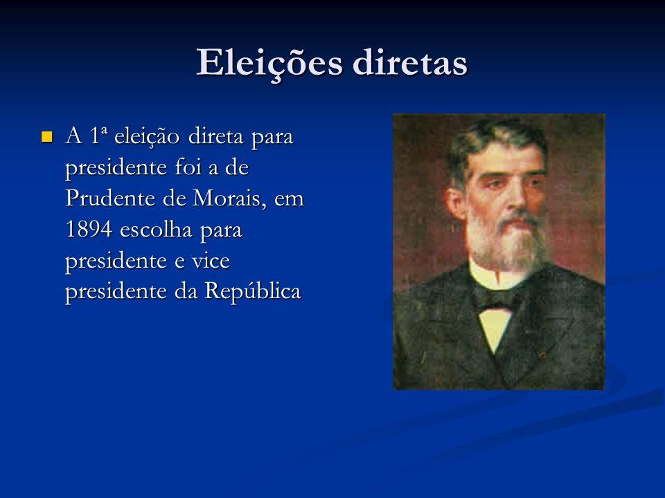 Eleições diretas A 1ª eleição direta para presidente foi a de Prudente de Morais, em 1894 escolha para presidente e vice presidente da República A 1ª