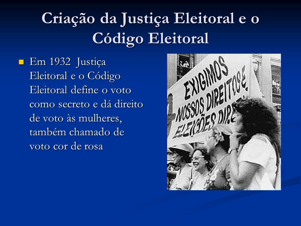 Criação da Justiça Eleitoral e o Código Eleitoral Em 1932 Justiça Eleitoral e o Código Eleitoral define o voto como secreto e dá direito de voto às mu