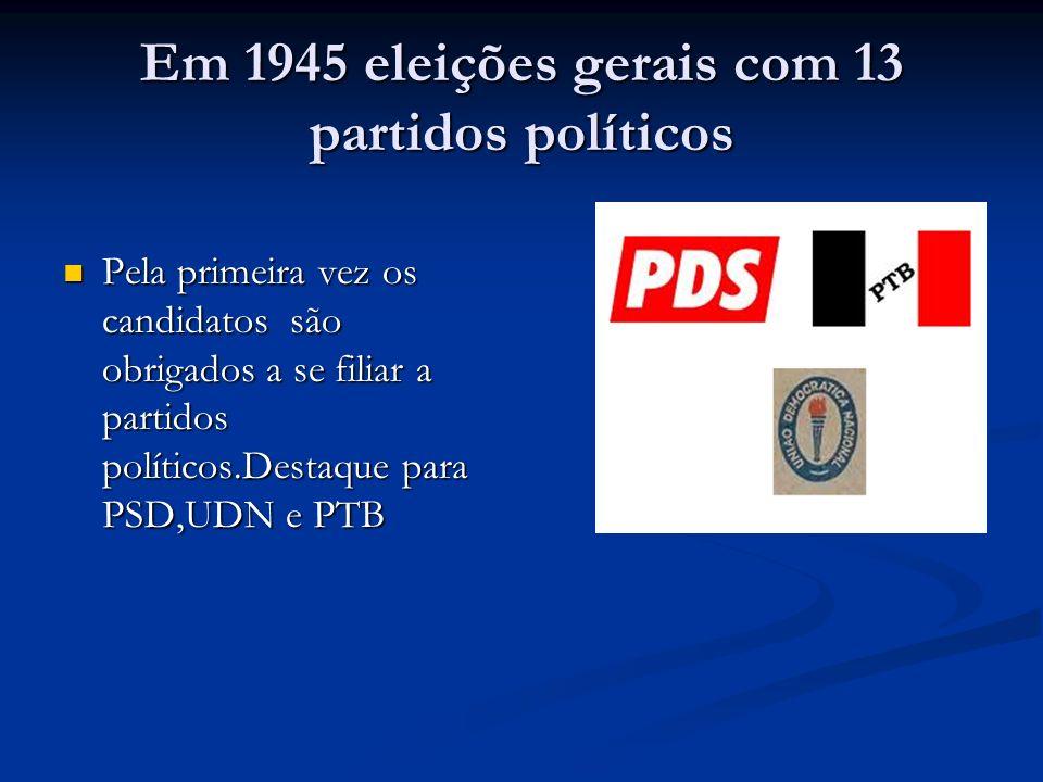 Em 1945 eleições gerais com 13 partidos políticos Pela primeira vez os candidatos são obrigados a se filiar a partidos políticos.Destaque para PSD,UDN e PTB Pela primeira vez os candidatos são obrigados a se filiar a partidos políticos.Destaque para PSD,UDN e PTB