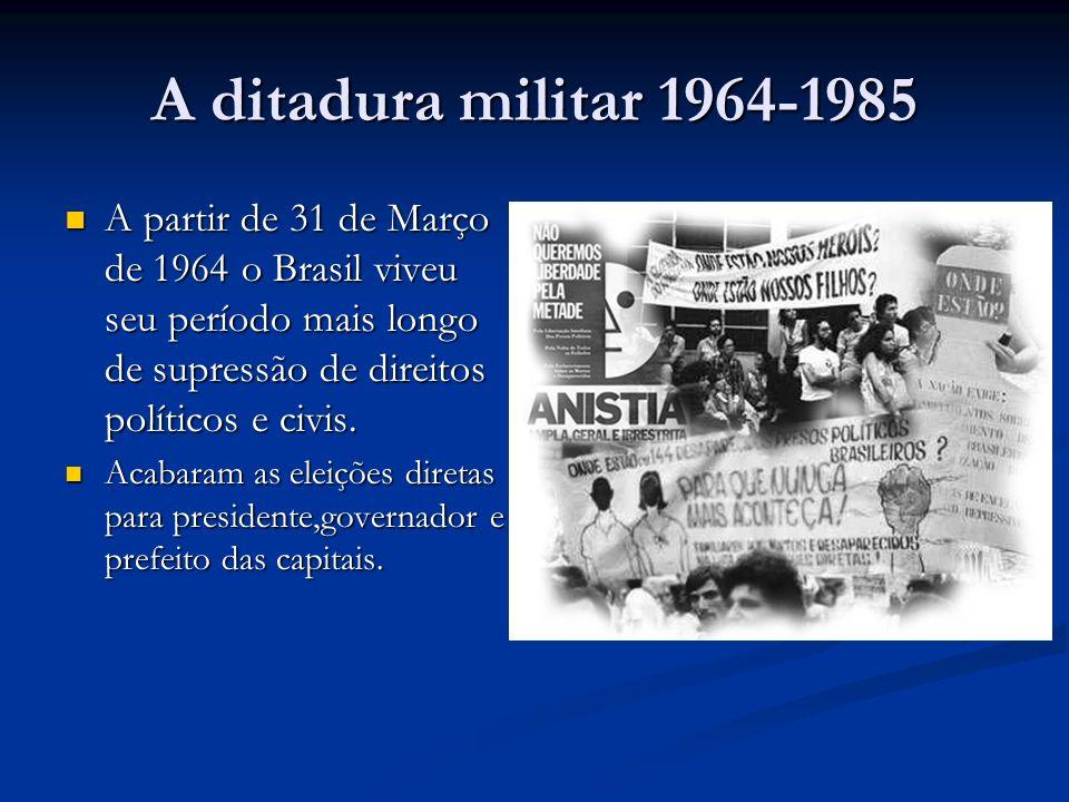 A ditadura militar 1964-1985 A partir de 31 de Março de 1964 o Brasil viveu seu período mais longo de supressão de direitos políticos e civis. A parti