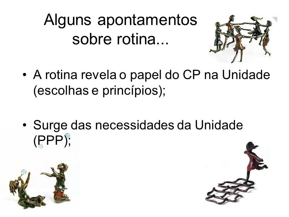 Alguns apontamentos sobre rotina... A rotina revela o papel do CP na Unidade (escolhas e princípios); Surge das necessidades da Unidade (PPP);