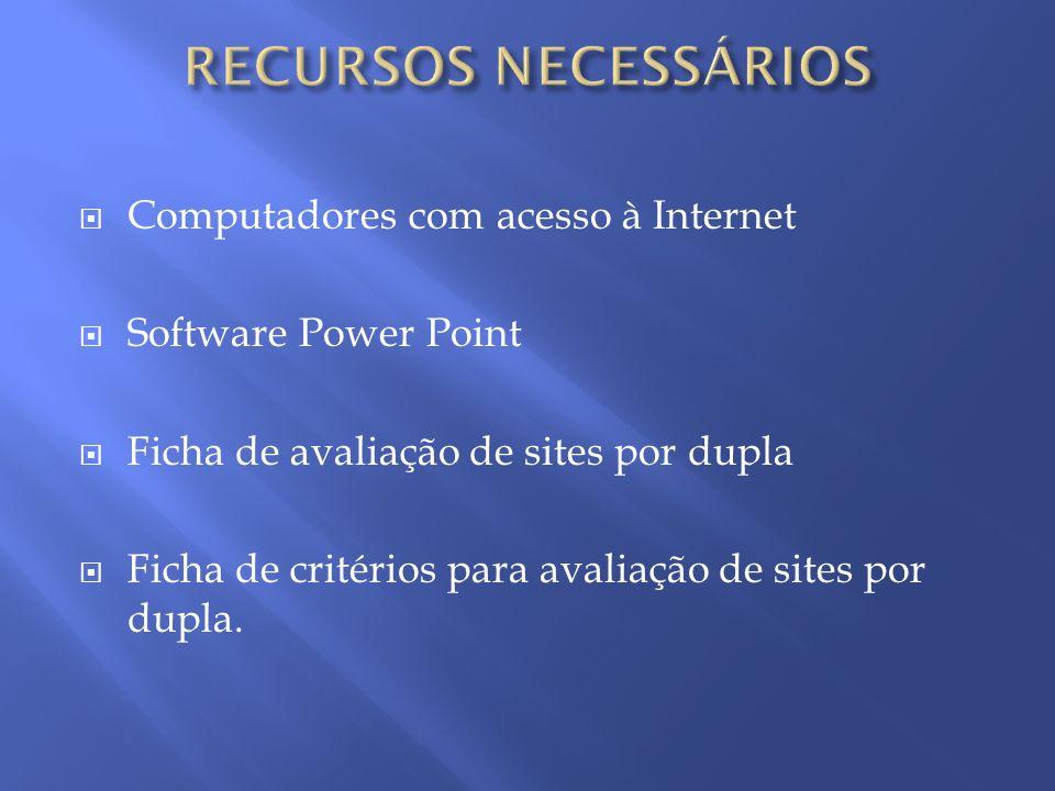 Computadores com acesso à Internet Software Power Point Ficha de avaliação de sites por dupla Ficha de critérios para avaliação de sites por dupla.