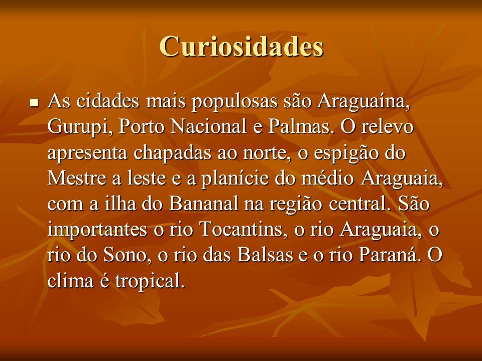 Curiosidades As cidades mais populosas são Araguaína, Gurupi, Porto Nacional e Palmas. O relevo apresenta chapadas ao norte, o espigão do Mestre a les