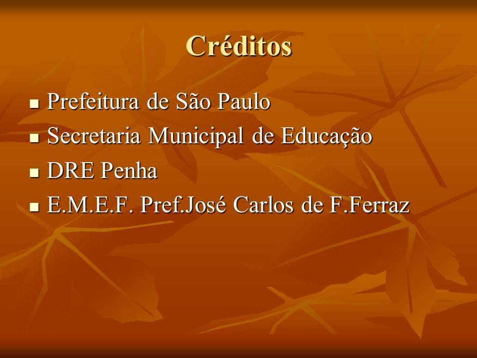 Créditos Prefeitura de São Paulo Prefeitura de São Paulo Secretaria Municipal de Educação Secretaria Municipal de Educação DRE Penha DRE Penha E.M.E.F