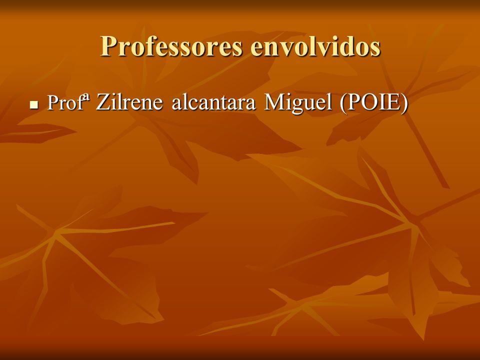 Professores envolvidos Prof ª Zilrene alcantara Miguel (POIE) Prof ª Zilrene alcantara Miguel (POIE)
