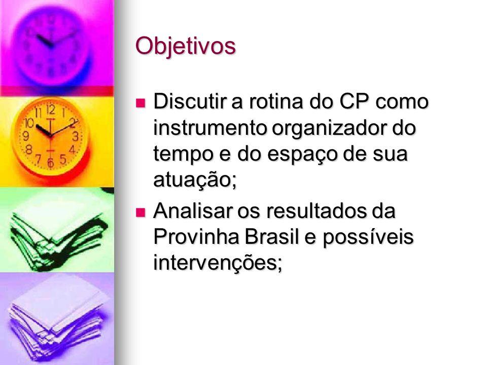 Objetivos Discutir a rotina do CP como instrumento organizador do tempo e do espaço de sua atuação; Discutir a rotina do CP como instrumento organizad