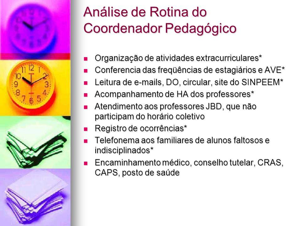 Organização de atividades extracurriculares* Organização de atividades extracurriculares* Conferencia das freqüências de estagiários e AVE* Conferenci