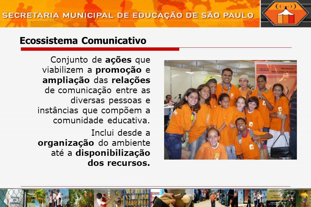 Ecossistema Comunicativo Conjunto de ações que viabilizem a promoção e ampliação das relações de comunicação entre as diversas pessoas e instâncias que compõem a comunidade educativa.