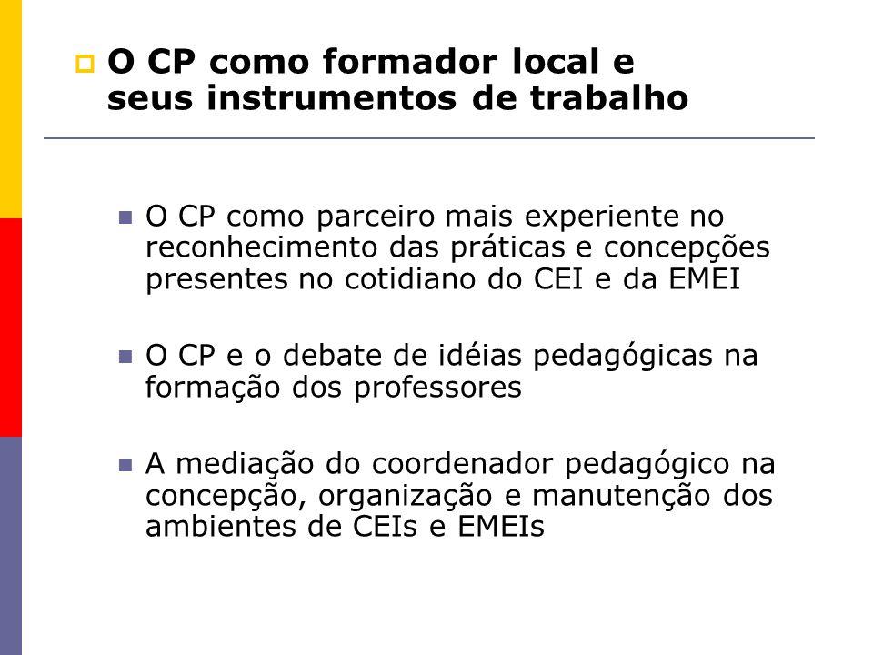 O CP como parceiro mais experiente no reconhecimento das práticas e concepções presentes no cotidiano do CEI e da EMEI O CP e o debate de idéias pedag