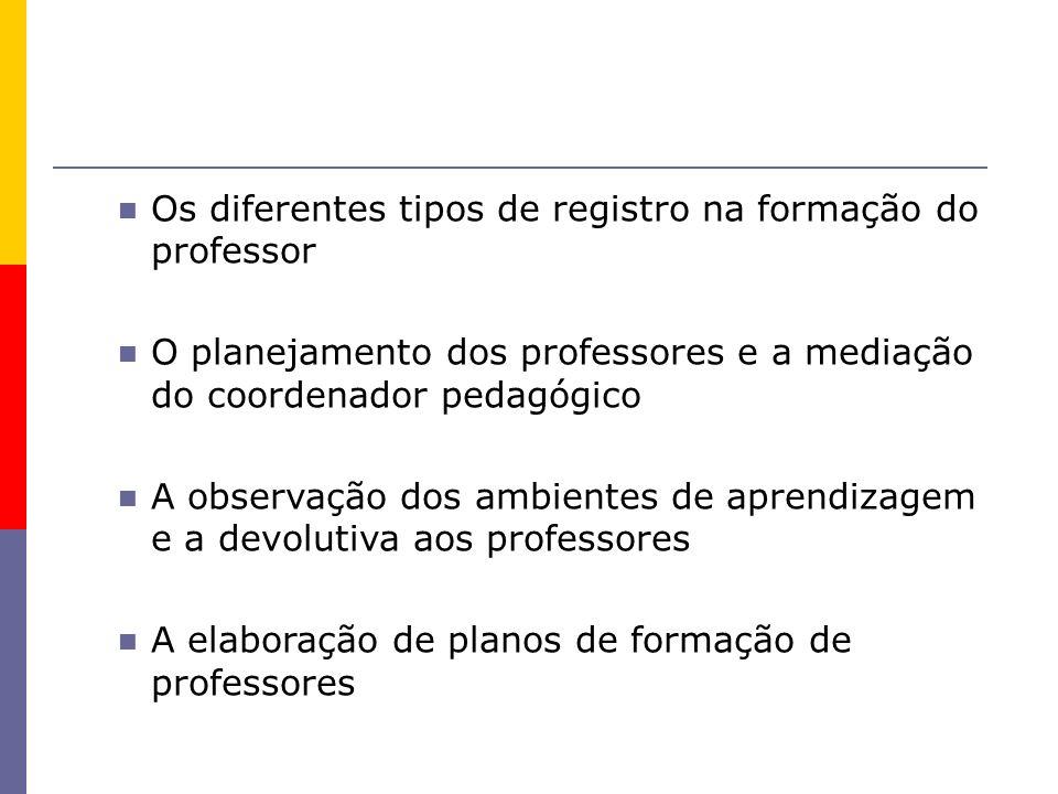 Os diferentes tipos de registro na formação do professor O planejamento dos professores e a mediação do coordenador pedagógico A observação dos ambien