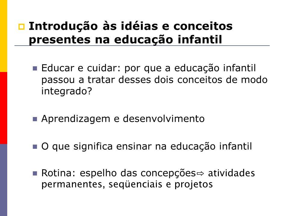 Introdução às idéias e conceitos presentes na educação infantil Educar e cuidar: por que a educação infantil passou a tratar desses dois conceitos de