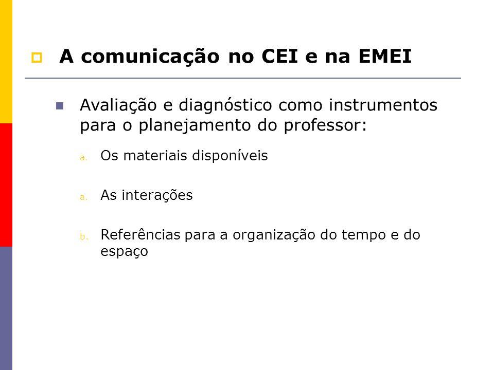 A comunicação no CEI e na EMEI Avaliação e diagnóstico como instrumentos para o planejamento do professor: a. Os materiais disponíveis a. As interaçõe