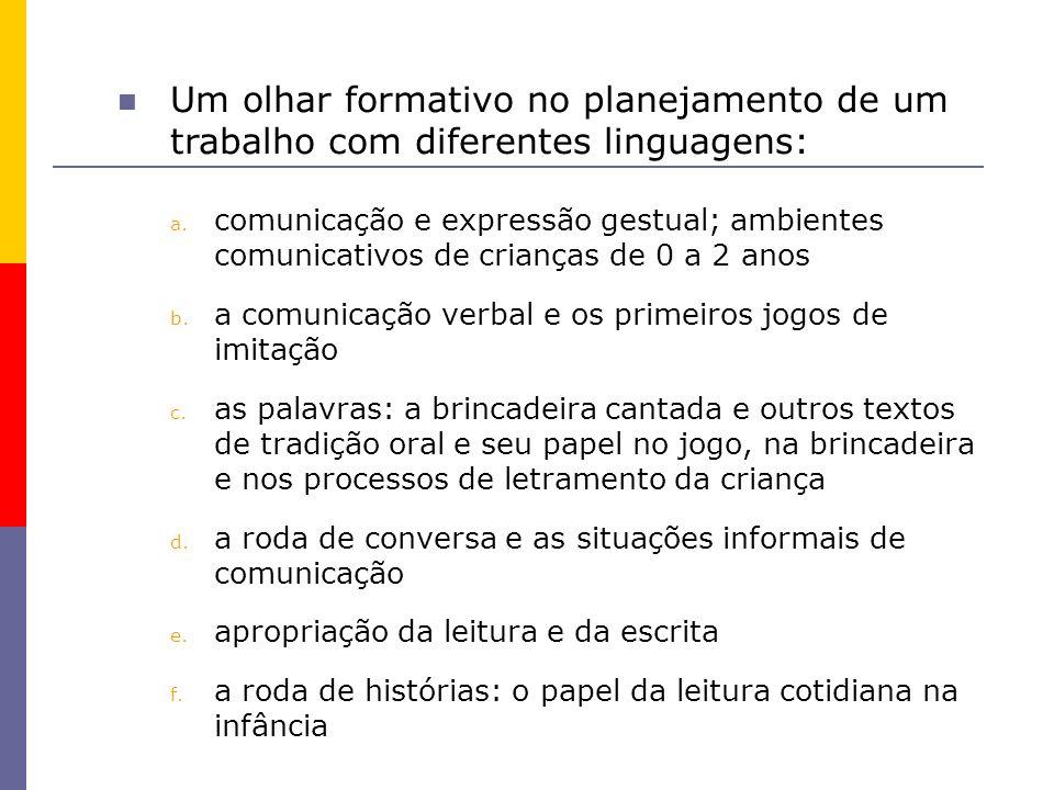 Um olhar formativo no planejamento de um trabalho com diferentes linguagens: a. comunicação e expressão gestual; ambientes comunicativos de crianças d