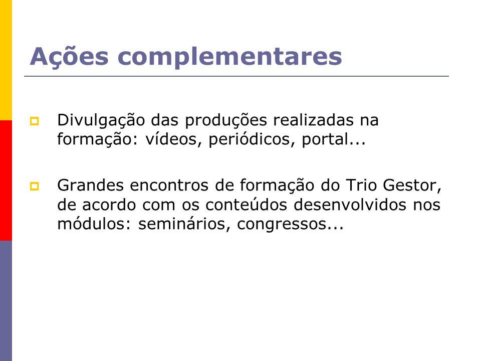Ações complementares Divulgação das produções realizadas na formação: vídeos, periódicos, portal... Grandes encontros de formação do Trio Gestor, de a