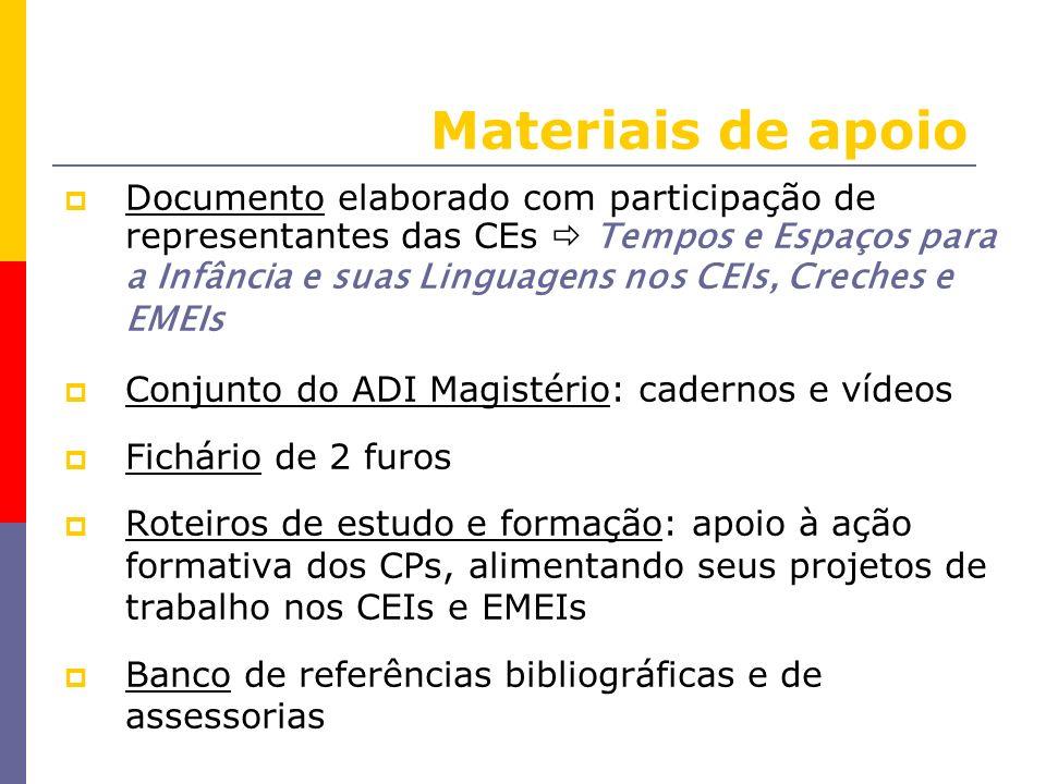 Materiais de apoio Documento elaborado com participação de representantes das CEs Tempos e Espaços para a Infância e suas Linguagens nos CEIs, Creches