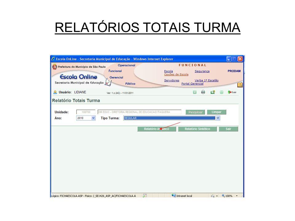 RELATÓRIOS TOTAIS TURMA