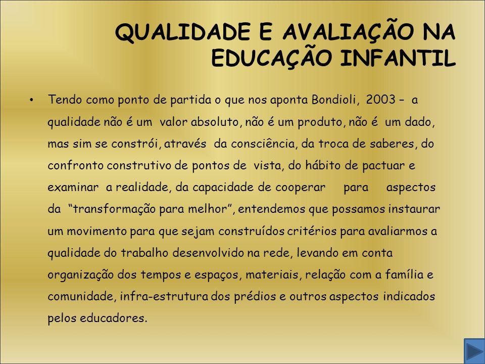 QUALIDADE E AVALIAÇÃO NA EDUCAÇÃO INFANTIL Tendo como ponto de partida o que nos aponta Bondioli, 2003 – a qualidade não é um valor absoluto, não é um