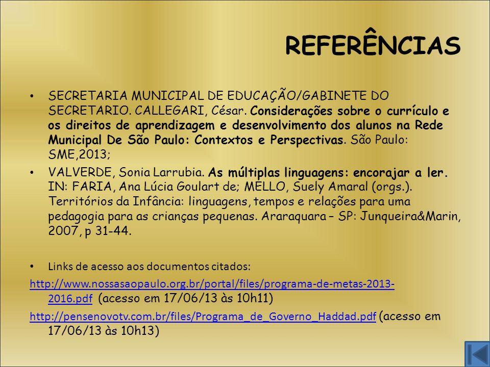 REFERÊNCIAS SECRETARIA MUNICIPAL DE EDUCAÇÃO/GABINETE DO SECRETARIO. CALLEGARI, César. Considerações sobre o currículo e os direitos de aprendizagem e