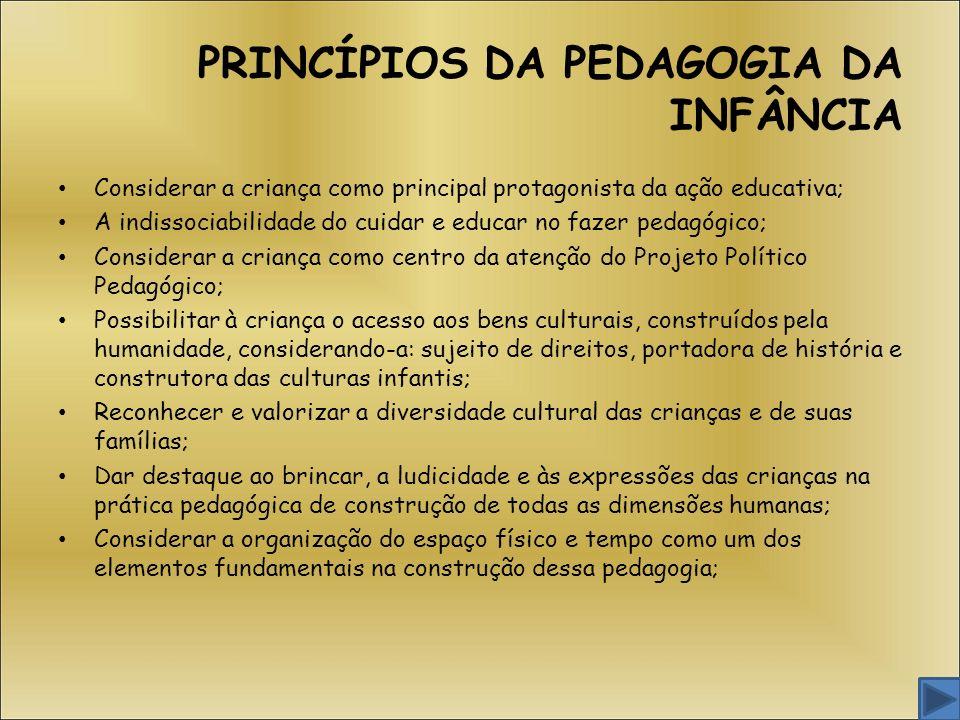 PRINCÍPIOS DA PEDAGOGIA DA INFÂNCIA Considerar a criança como principal protagonista da ação educativa; A indissociabilidade do cuidar e educar no faz