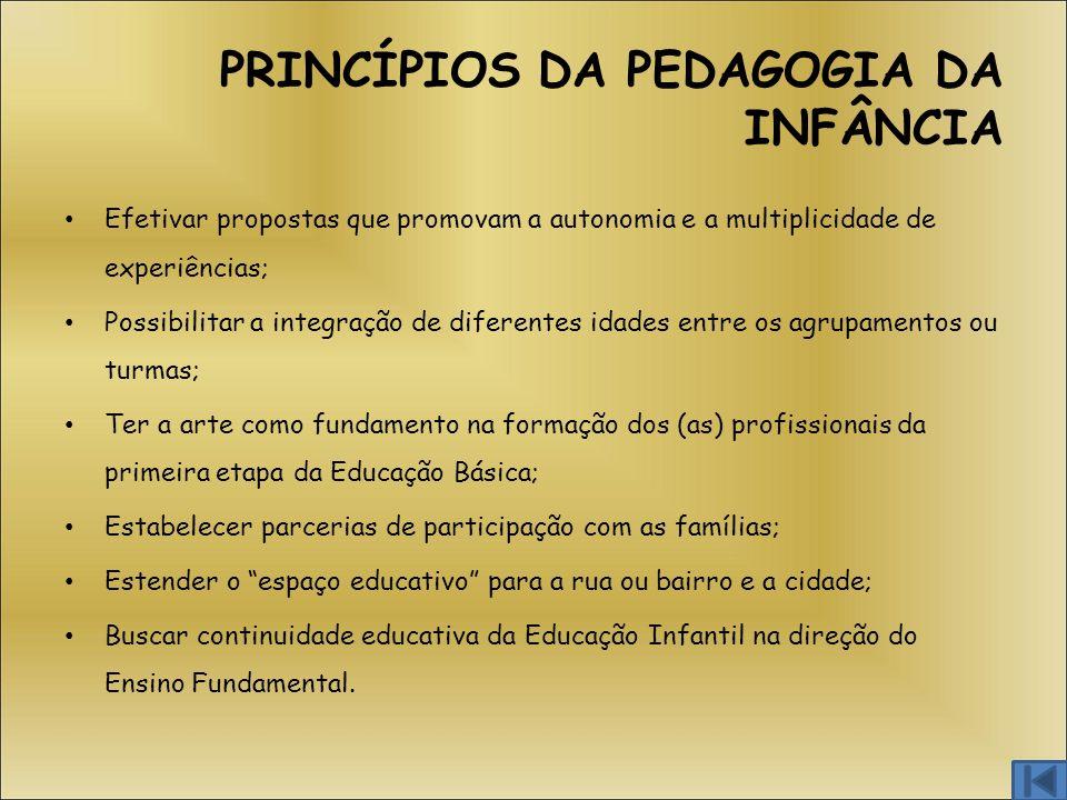 PRINCÍPIOS DA PEDAGOGIA DA INFÂNCIA Efetivar propostas que promovam a autonomia e a multiplicidade de experiências; Possibilitar a integração de difer