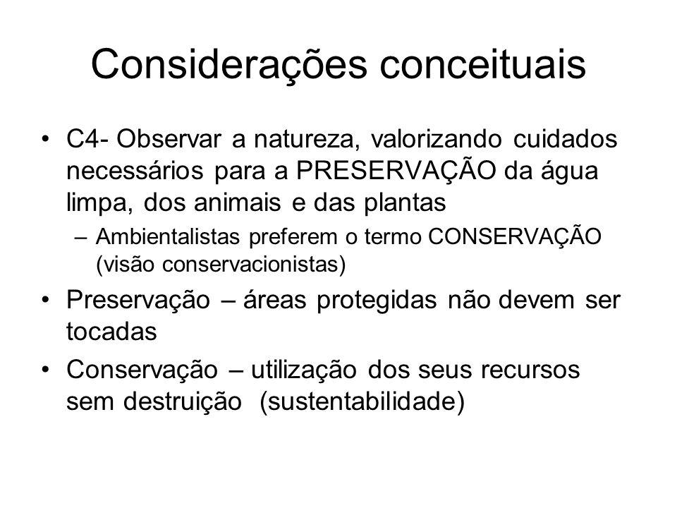 Considerações conceituais C4- Observar a natureza, valorizando cuidados necessários para a PRESERVAÇÃO da água limpa, dos animais e das plantas –Ambie