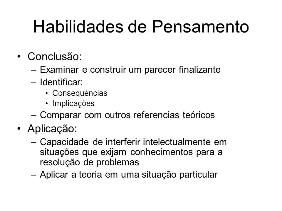 Habilidades de Pensamento Conclusão: –Examinar e construir um parecer finalizante –Identificar: Consequências Implicações –Comparar com outros referen