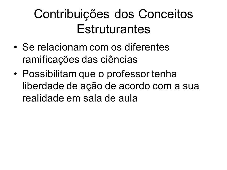 Contribuições dos Conceitos Estruturantes Se relacionam com os diferentes ramificações das ciências Possibilitam que o professor tenha liberdade de aç