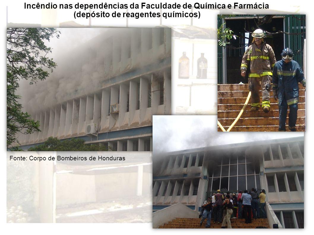 Incêndio nas dependências da Faculdade de Química e Farmácia (depósito de reagentes químicos) Fonte: Corpo de Bombeiros de Honduras
