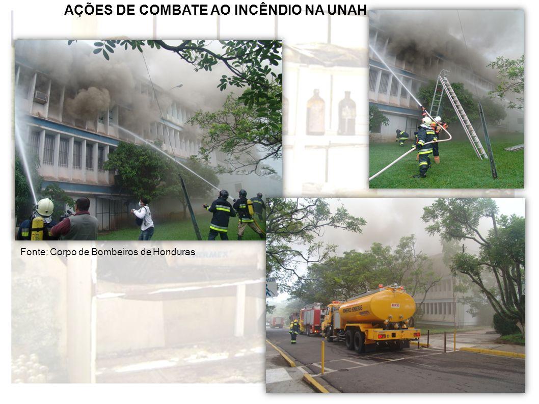 AÇÕES DE COMBATE AO INCÊNDIO NA UNAH Fonte: Corpo de Bombeiros de Honduras