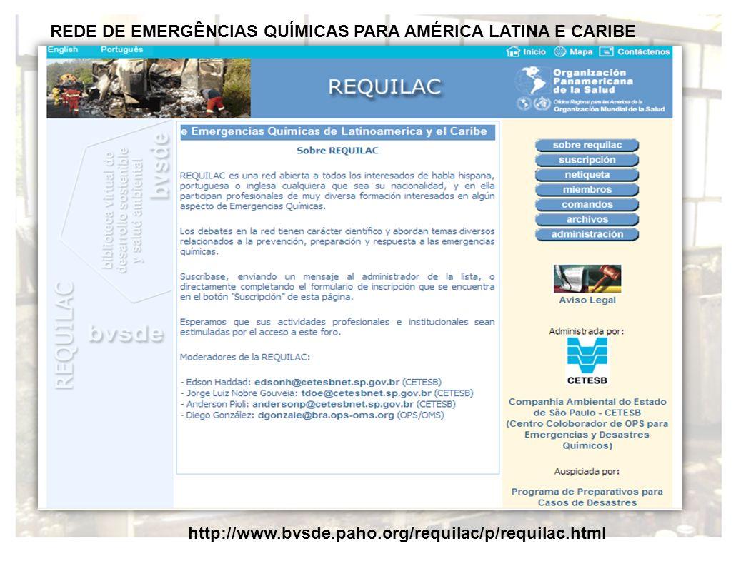 REDE DE EMERGÊNCIAS QUÍMICAS PARA AMÉRICA LATINA E CARIBE http://www.bvsde.paho.org/requilac/p/requilac.html