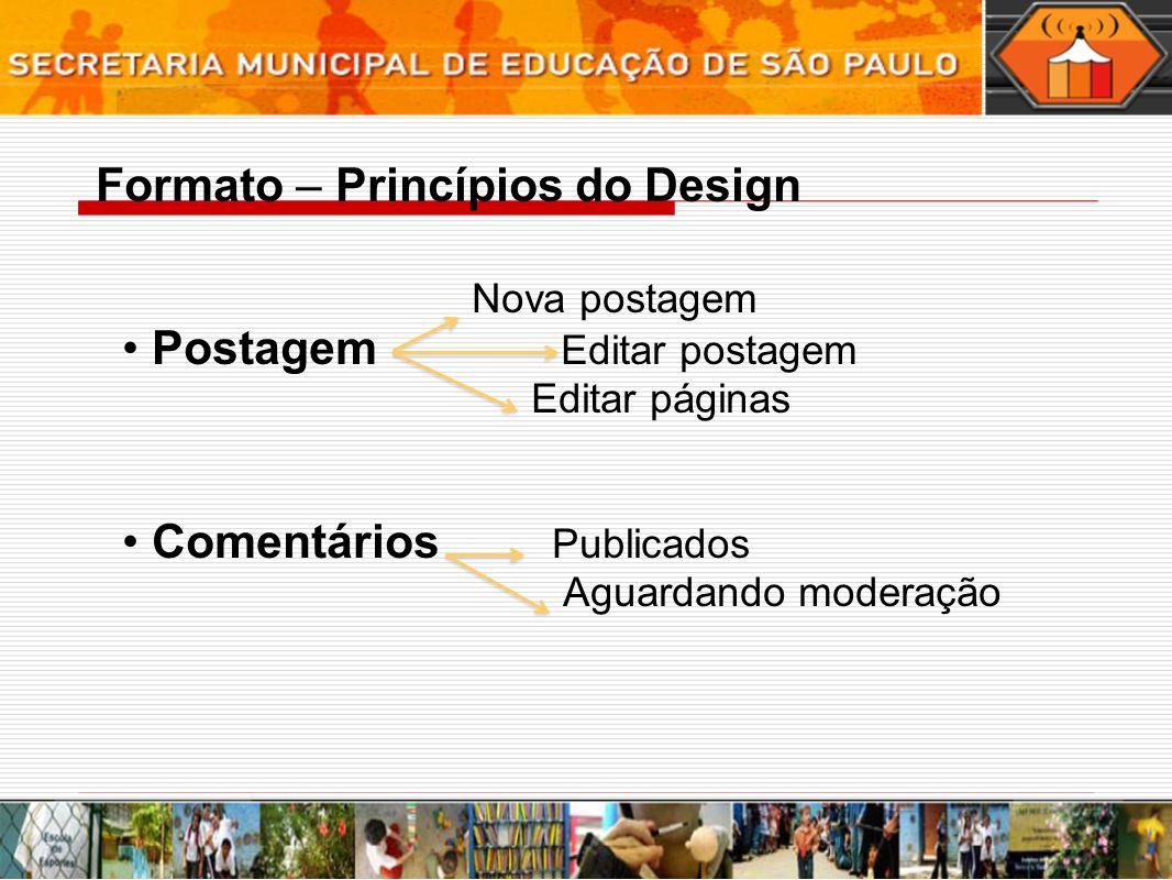 Nova postagem Postagem Editar postagem Editar páginas Comentários Publicados Aguardando moderação Formato – Princípios do Design