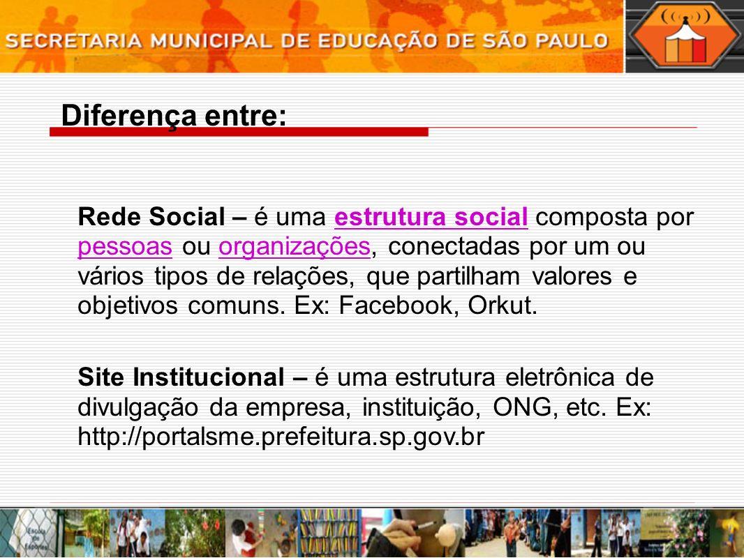 Rede Social – é uma estrutura social composta por pessoas ou organizações, conectadas por um ou vários tipos de relações, que partilham valores e objetivos comuns.