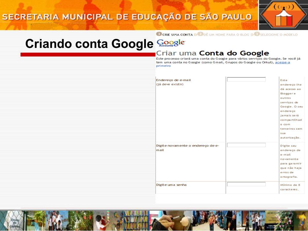 Criando conta Google