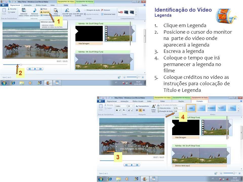 Identificação do Vídeo Legenda 1.Clique em Legenda 2.Posicione o cursor do monitor na parte do vídeo onde aparecerá a legenda 3.Escreva a legenda 4.Co