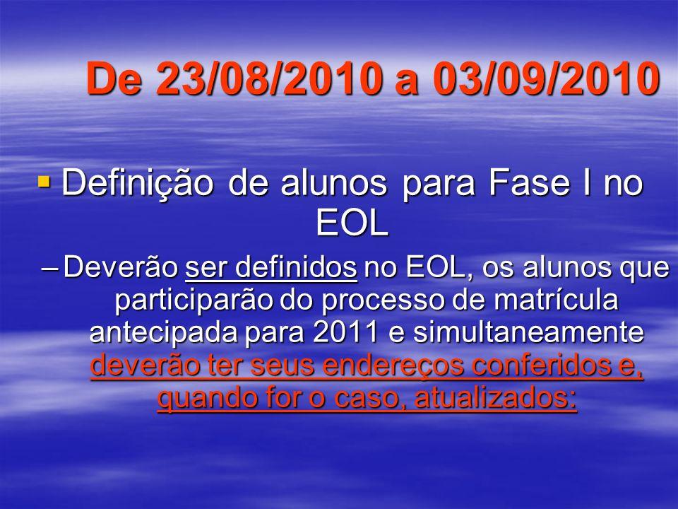 De 23/08/2010 a 03/09/2010 Definição de alunos para Fase I no EOL Definição de alunos para Fase I no EOL –Deverão ser definidos no EOL, os alunos que
