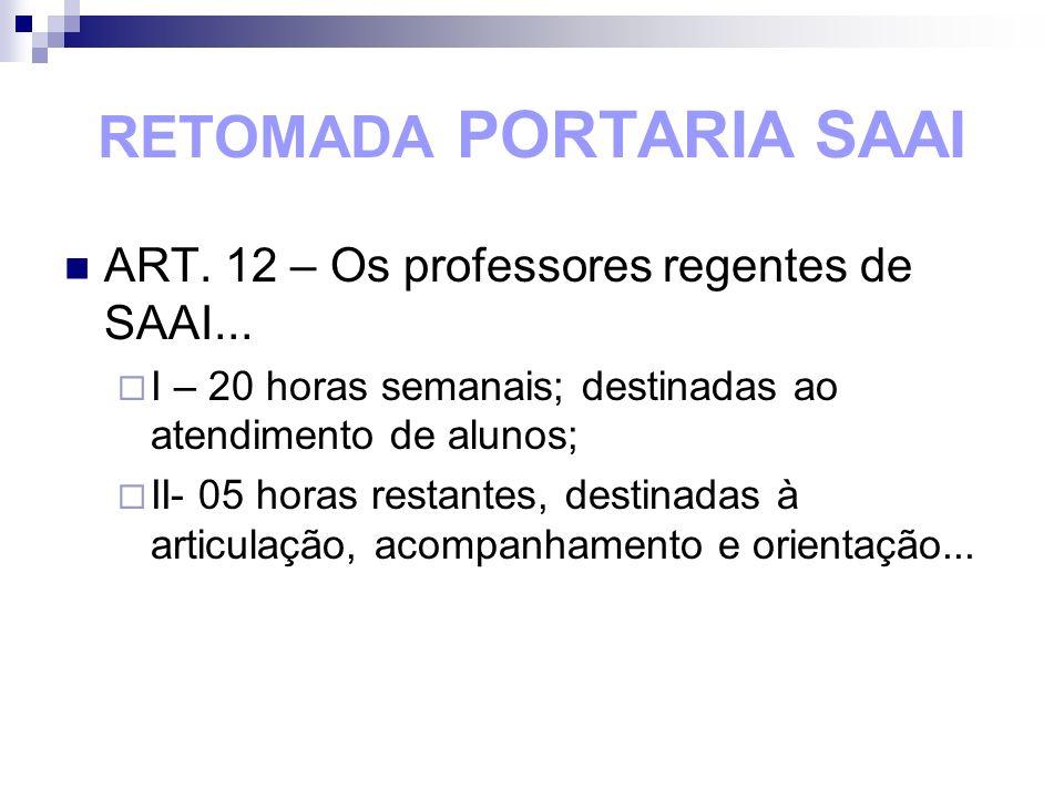 RETOMADA PORTARIA SAAI ART. 12 – Os professores regentes de SAAI... I – 20 horas semanais; destinadas ao atendimento de alunos; II- 05 horas restantes