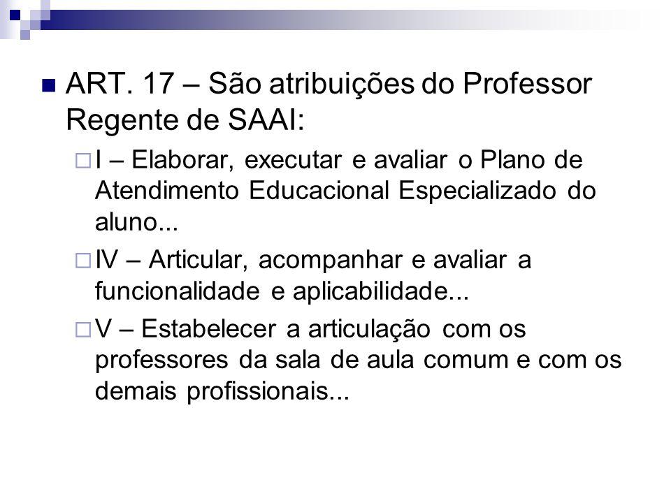 ART. 17 – São atribuições do Professor Regente de SAAI: I – Elaborar, executar e avaliar o Plano de Atendimento Educacional Especializado do aluno...