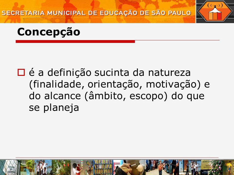 Concepção é a definição sucinta da natureza (finalidade, orientação, motivação) e do alcance (âmbito, escopo) do que se planeja